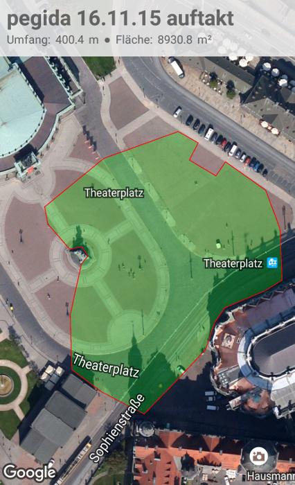 Durch Pegida-Teilnehmer eingenommen Fläche um 19 Uhr. Bild: Google Bearbeitung: Forschungsgruppe Durchgezählt