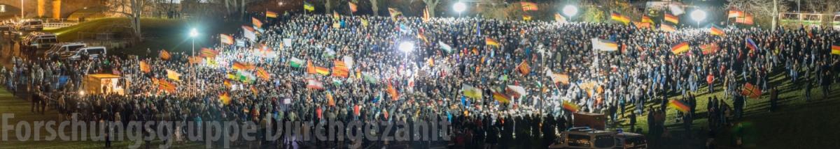 Teilnehmerzahlen am 21.12.2015 bei Pegida und Nopegida in Dresden