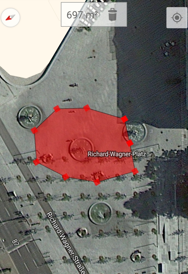 Flächenschätzung für die Auftaktkundgebung der Legida auf dem Richard-Wagner-Platz gegen 19:35 Bild: Google Bearbeitung: Forschungsgruppe Durchgezählt